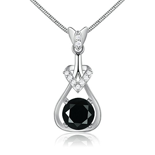 GULICX White Gold Tone Black Crystal Rhinestone Lovely Women Pendant necklace (Rhinestone Gold Pendant Tone)