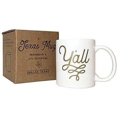 Y'all Texas Mug Gold 11 ounce Coffee Mug with Texas Gift Box