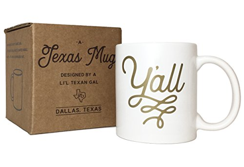 Y'all Texas Mug Gold 11 ounce Coffee Mug with Texas Gift Box