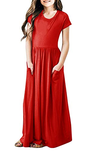 Dutebare Girls Maxi Dress Floral Printed Short Sleeve Casual Empire Waist Long Party Dress Red s 130
