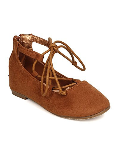 Price comparison product image Betani FB81 Faux Suede Gilly Tie Ballerina Flat (Toddler Girl / Little Girl) - Camel (Size: Little Kid 11)