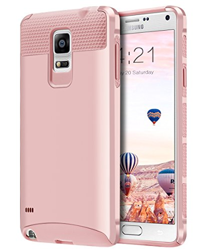 Note 4 Case, BENTOBEN Slim Scratch Resistant Dual Layered Rugged Hybrid Hard PC Shell Flexible Inner TPU Bumper Protective Case for Samsung Galaxy Note 4, Rose Gold ()