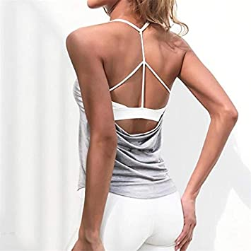 HELUNSTX Fitness Mujeres Yoga Transpirable Top Gym Entrenamiento Tank Top Sin Espalda Camiseta Deportiva Mujeres Correr Camiseta Sport Crop Top: Amazon.es: Deportes y aire libre