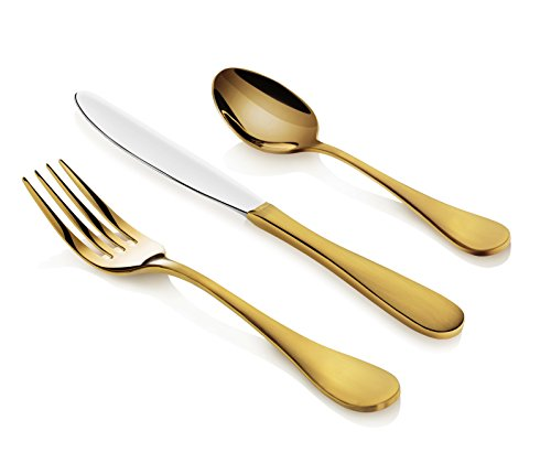 Artaste 56907 Rain 18/10 Stainless Steel Flatware 36-Piece Set, Gold Finished, Service for 12 (Set Piece Gold 12)