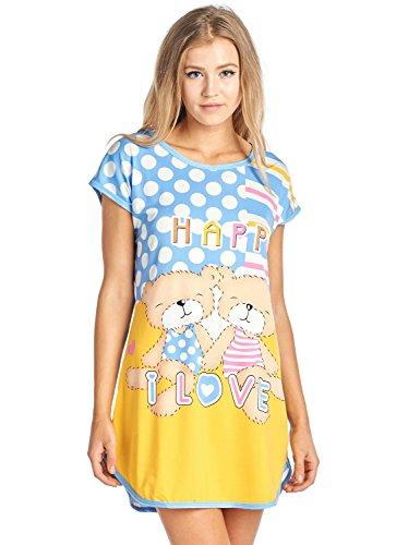 Casual Nights Women's Printed Dorm Scoop Neck Sleep T-Shirt - Happy I Love/Blue - X-Large