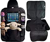 Car Seat Organizer and Car Seat Protector with iPad and Tablet Holder Premium Durable Quality Seat Covers Pocket Storage Child Seat Back Organizer & Kick Mat Protector Travel Accessories Backseat