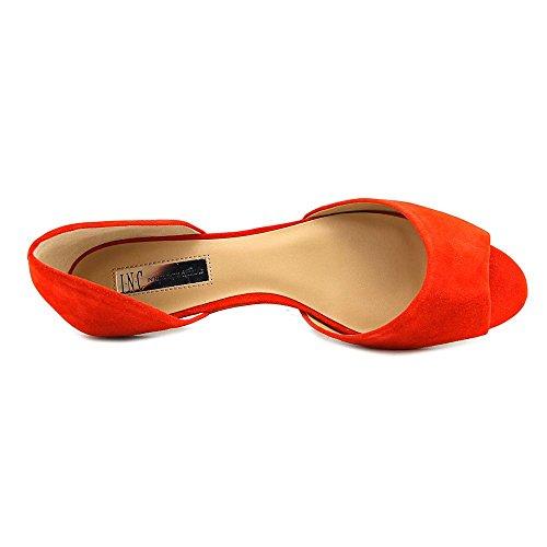 Inc International Concepts Womens Elsah In Pelle Open Toe Slide Flats Primavera Rosso