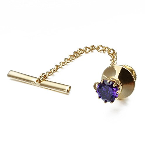 HAWSON Mens Crystal Tie Tack with Chain Gold Tie Clip Party Accessories Purple