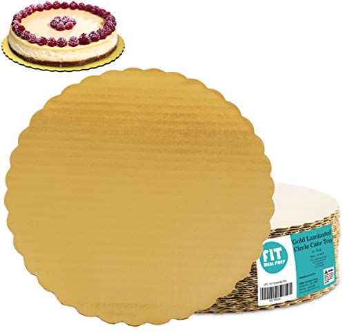 ([20 Pack] 12 Inches Round Cake Boards - Cardboard Disposable Cake Pizza Circle Scalloped Gold Tart Decorating Base Stand)