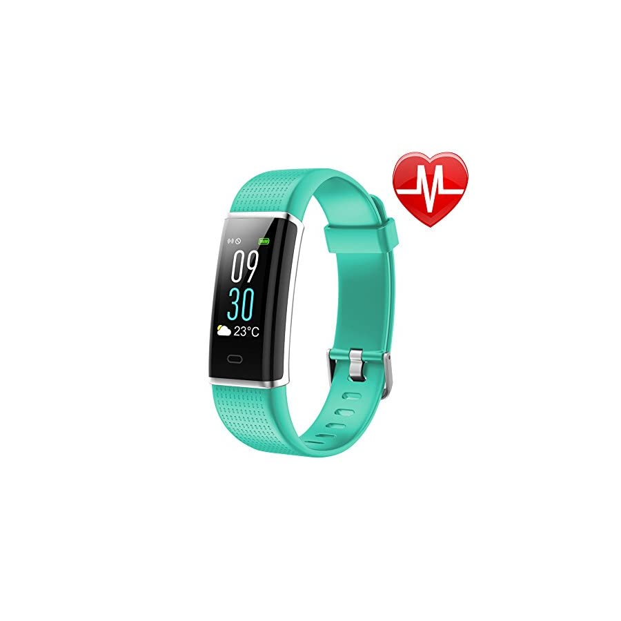 "Letsfit Waterproof Fitness Tracker with Heart Rate Monitor, Color Screen Fitness Watch, Smart Bracelet with Sleep Monitor, Step Counter, Pedometer Watch for Kids Women and Men, 0.96"" Screen, Green"