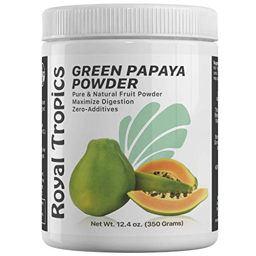 - Royal Tropics Digestive Enzyme Powder - Digestion & Weight Control Supplement | Made from 100% Pure Green Papaya Enzyme with Papain - Natural Breakdown of Lipids & Proteins for Faster Absorption 350g