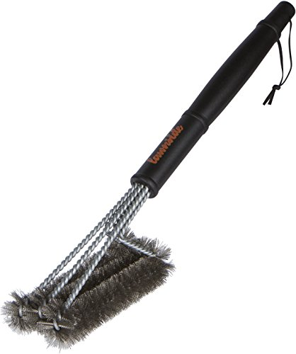 Lawnside BBQ Grill Brush with 3-in-1 Stainless Steel Brush Head, Metal Wire Bristles and Comfy Handle - Best Accessory Tool for Cleaning Tough Grates, Burners and Racks on ALL Barbecue Grills