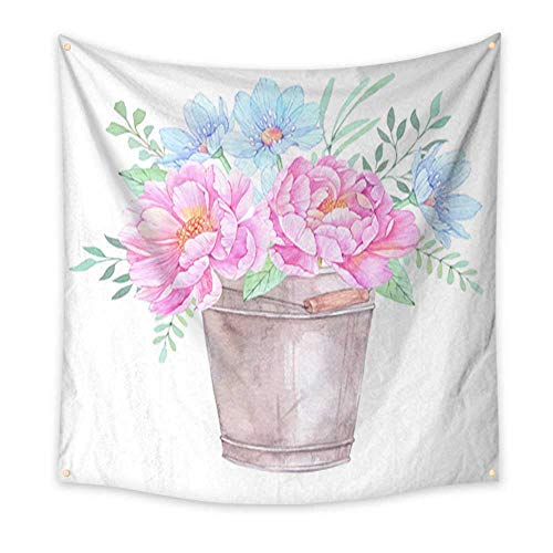 Tapestry Popular Original Wall Hanging Watercolor Illustration Bucket with Floral Elements Bouquet with Peonies Blue Flowers Leaves and Branches Perfect for Wedding Invitation Greeting Card Prints -