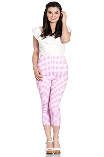 Vintage Pedal Pusher (Hell Bunny Judy Checked 50s Vintage Capri Pants 3/4 Length Pedal Pushers - Pink & White (L))