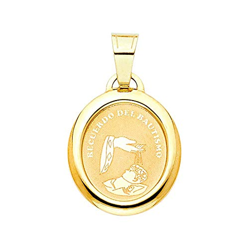 Precious Gem Jewellers 14k Yellow Gold Baby's Baptism Engrave Medal Polished Pendant