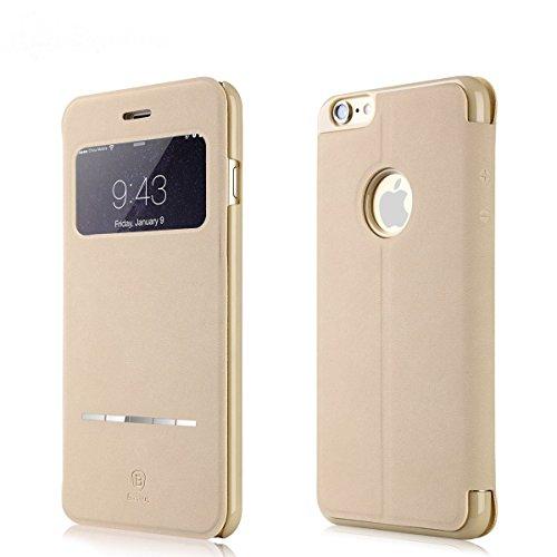 iPhone 7 Plus Hülle, IVSO Hohe Qualität Case Folio Tasche Cover-mit Standfunction Schutzhülle, mit Advanced Shock Absorption Technology hülle für Apple iPhone 7 Plus Smartphone, Golden