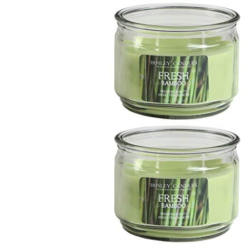 Hosley Set of 2 Fresh Bamboo Highly Scented, 2 Wick, 10 Oz Wax, Jar Candle. Ideal Votive Gift for...