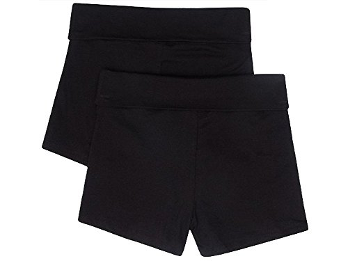 Contrast Waistband - NEW Womens Stretch Exercise Fold over Yoga Contrast waistband Shorts,Black/Black,Large