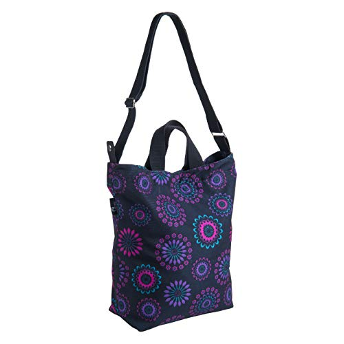 Pursetti Canvas Tote Bag for Women - Large Shoulder Bag as Work Tote, Book Bag or Travel Carryon (Purple Circle)