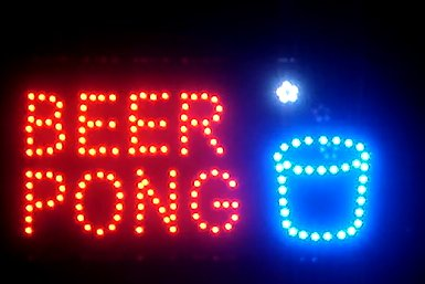 """Price comparison product image Neon LED Sign Bar Flashing Lights """"Beer Pong"""" Text"""