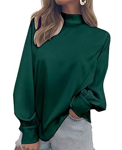 Femmes Manches Automne Unie Chemisiers Mode Col Lanterne Chemises Blouse Printemps Shirts Couleur Roul Vert Tee Tops Hauts 5TdIqnw