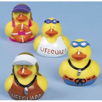 One Dozen (12) Rubber Ducky Lifeguard Pool Party Favors