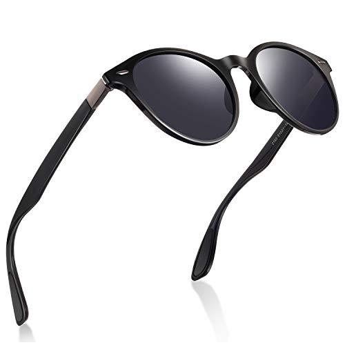 Retro Sunglasses for Men- wearPro Cateye Polarized Round Sunglasses Women Men (matte black)