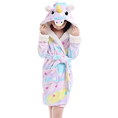 NEWCOSPLAY Unisex Bathrobe Children's Unicorn Robe Hooded Sleepwear (8-10 Years, Rainbow) ()