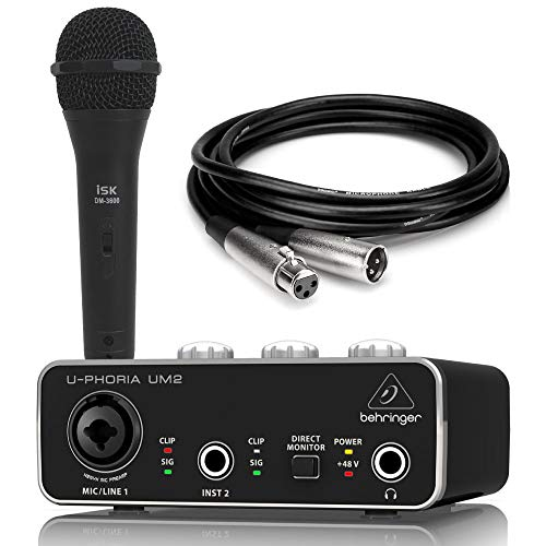 [해외]BEHRINGER UM2 U-PHORIA 오디오 인터페이스 iSK 마이크 Hosa 3m 마이크 케이블 세트 / BEHRINGER UM2 U-PHORIA Audio Interface iSK Mike Hosa set with 3m microphone cable