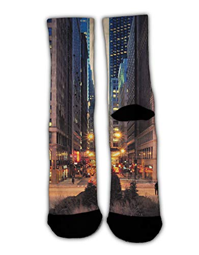 (YEAHSPACE 1 Pairs USA Chicago Skyline Night View Christmas Holiday Socks Funky Dress Socks Colorful Fun Cotton Crew Socks Slippers, Novelty Gifts for Men Women)