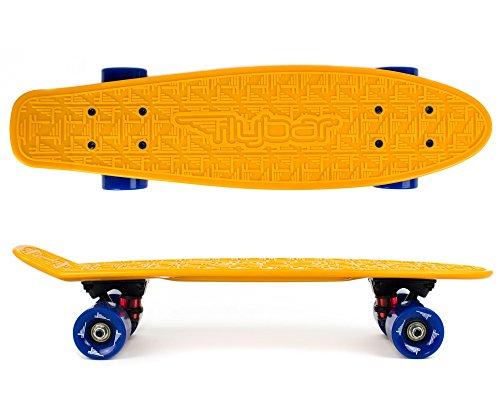 Flybar 22 Inch Complete Plastic Cruiser Skateboard Custom Non-Slip Deck Multiple - Orange Stores Park Mall