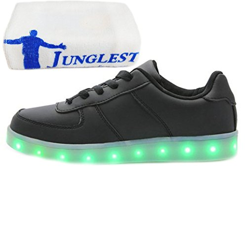 [Presente:pequeña toalla]JUNGLEST® Unisex 7 Colors USB Carga LED Luz Luminosas Flashing Sneakers Altotop Zapatos Zapatillas de Depo c18