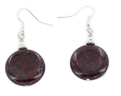 Certified Authentic .925 Sterling Silver Hooks Natural Red Jasper Dangle Native American Earrings