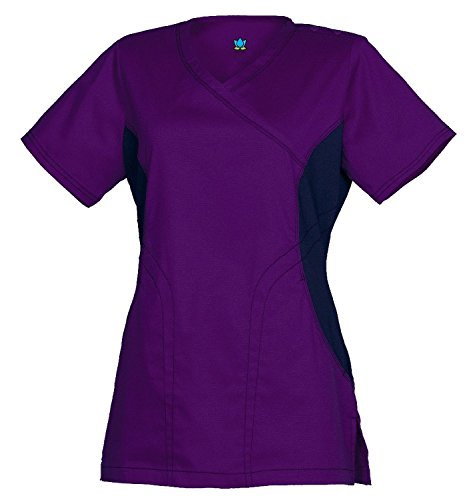 Empress by Maevn Women's Y Neck Knit Accent Solid Scrub Top X-Small True Purple/Black