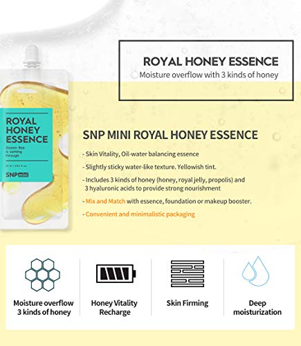 SNP mini - Travel Skin Care Set - Cream, Essence, Toner, Serum, Tone-Up Cream & Cleansing Foam for All Skin Types - 1 Pouch of Each - 6 Packs - Best Gift Idea for Mom, Girlfriend, Wife, Her, Women