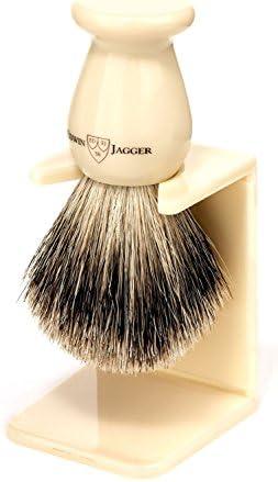 Edwin Jagger Brocha de Afeitar de Tejón con Soporte de Goteo, Tamaño Medio, Color Ébano - 1 Pack: Amazon.es: Salud y cuidado personal