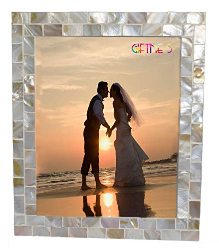GIFTME 5 White Picture Frame 8x10 Wedding Picture Frame Mother of Pearl Photo Frames for Wall Hanging or Tabletop 8 by 10 inch (Natural White)