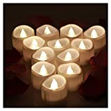 OMGAI LED Tea Lights With Timer Battery Operated Unscented Flameless Flickering Electric Candles, 60+ Hours of Lighting for Home Decor, Set of 12 - Warm White