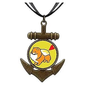 Chicforest Bronze Retro Style Pomeranian Dog cartoon Anchor Pendant