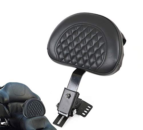 (AUFER Adjustable Plug-in Driver Rider Backrest Custom Made for 1997-2019 Harley Davidson Touring Models Road King/Street Glide/Road Glide/Electra Glide)