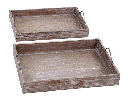 Distressed White Tray (Deco 79 Wood Tray, 18 by 16-Inch, White, Set of 2)