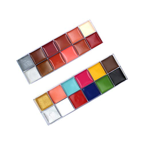 Halloween Dresses And Makeup (12 Colors/Set Oil Paint Face Body Painting Pigment Art Theme Party, Halloween, Fancy Dress Party Make Up)