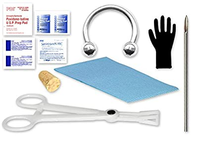 """Single Septum Piercing Kit Includes:1- Cork 1 - 14g Needle 1 - 14g ½"""" Circular Barbell 1 - Disposable Forceps 1 - Patient Bib 1 - Sani Hands Packet 1 - Iodine Prep Pad 2-large Alcohol Prep Pads 2-surgilube Packets 1-pair of Gloves Eg Gifts"""