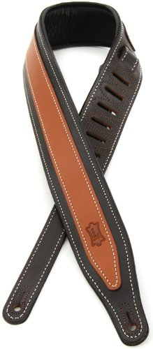 Levy's Leathers MV17TT-DBR/TAN Classic Padded Electric Guitar Strap, Dark Brown and Tan