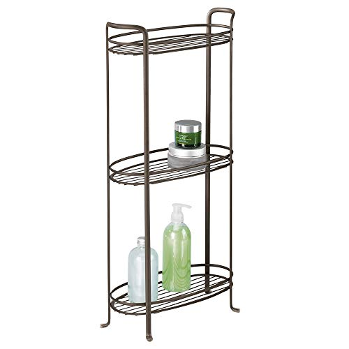 (mDesign 3 Tier Vertical Standing Bathroom Shelving Unit, Decorative Metal Storage Organizer Tower Rack with 3 Basket Bins to Hold and Organize Bath Towels, Hand Soap, Toiletries - Bronze)