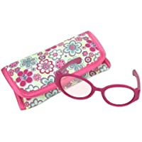 Sophia's 18 Inch Doll Pink Sunglasses & Case, 2 Pc. Set, Perfect for 18 Inch American Girl Dolls Clothes & More, Hot Pink Doll Glasses & Floral Print Eyeglass Case