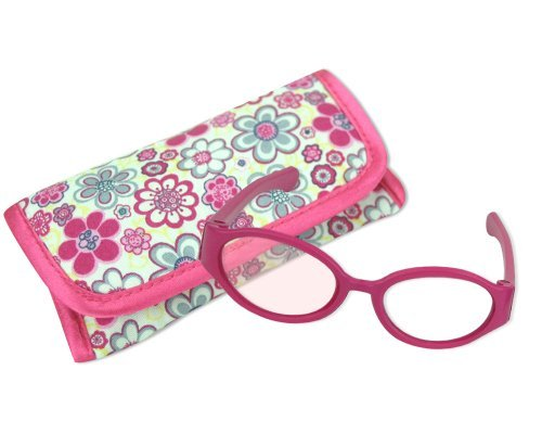 18 Inch Doll Pink Sunglasses & Case, 2 Pc. Set, Perfect for 18 Inch American Girl Dolls Clothes & More! by Sophia's, Hot Pink Doll Glasses & Floral Print Eyeglass - Eye Doll Glasses
