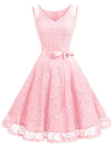 Dressystar DS0010 Floral Lace 2017 Bridesmaid Party Dress Short Prom Dress V Neck M Pink