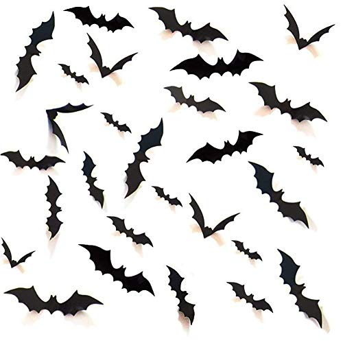 Weimaro [24 Packs] Removable Waterproof Halloween Decoration PVC 3D Scary Bats Party Supplies Wall Decal Kids Room Living Room Bedroom Decorative Sticker Halloween Eve Home Decor, Black