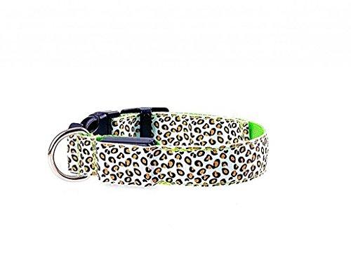más amarillo Cuello Durable batería photovie LED tamaño verde Nylon Perros para leopardo iluminación patrón noche qv81wO8H